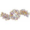 Crystal Motifs Fancy Swirl 10.5x4cm Yellow Aurora Borealis/gold